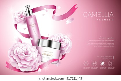 Camellia cosmetic ads, elegant pink camellia with cream bottle and ribbons, 3d illustration