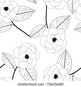 Camellia Flower on White Background. Vector Illustration.