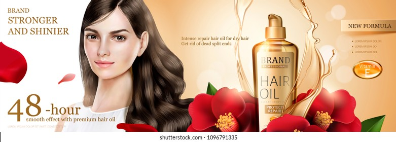 Camellia hair oil with beautiful long hair model and flower ingredient on glitter background.