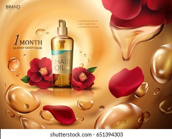 camellia hair oil contained in a bottle, with red camellia flowers and swirling oil drops, golden background 3d illustration