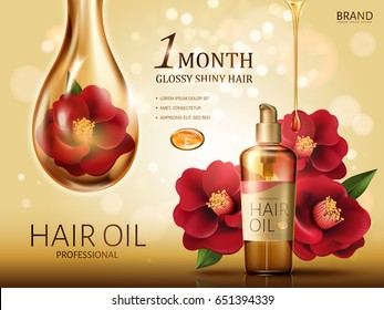 camellia hair oil contained in a bottle, with red camellia flowers and a huge oil drop covering a flower, golden background 3d illustration
