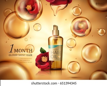 camellia hair oil contained in a bottle, with red camellia flowers and golden oil drops, golden background 3d illustration
