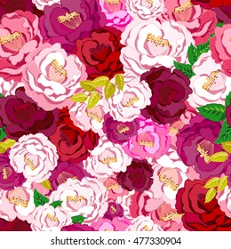 Camellia seamless pattern. Camellia background. Hand drawn vector illustration.