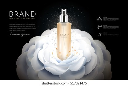 Camellia skin toner ads, elegant white camellia isolated on black background, 3d illustration
