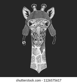 Camelopard, giraffe. Vintage motorcycle hemlet. Retro style illustration with animal biker for children, kids clothing, t-shirts. Fashion print with cool character. Speed and freedom.