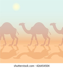 Camels caravan seamless pattern
