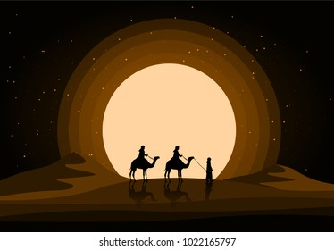 Camels in the desert night, moon, paper art