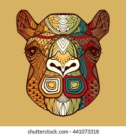 Camel's head with a ornate ornament - hand drawn. Patterned head wild animal in zentangle style. African tribal pattern multicolored color. Camel. Camel's head. Head of a camel. Animal vector logo.
