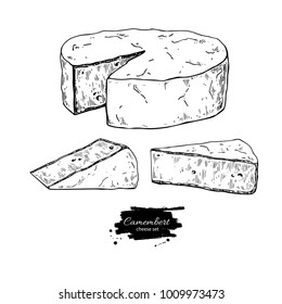 Camembert cheese block and triangle drawing. Vector hand drawn food sketch. Engraved Slice cut. Farm market product for label, poster, icon, packaging. Dairy vintage product