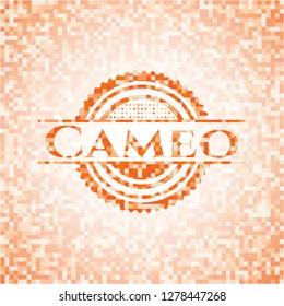 Cameo abstract orange mosaic emblem