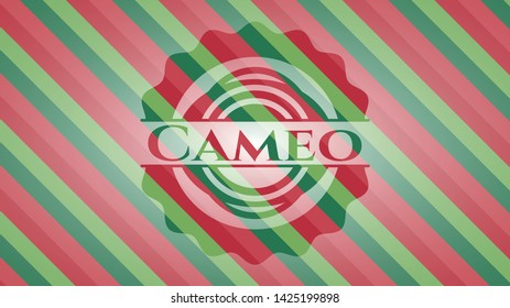 Cameo christmas badge background. Vector Illustration. Detailed.