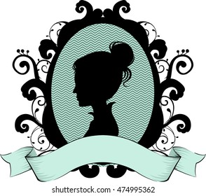 Cameo Illustration Featuring the Profile of a Victorian Woman