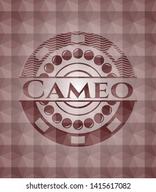 Cameo red badge with geometric background. Seamless.
