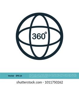 Camera 360 Degree Icon Vector Logo Template Illustration Design. Vector EPS 10.
