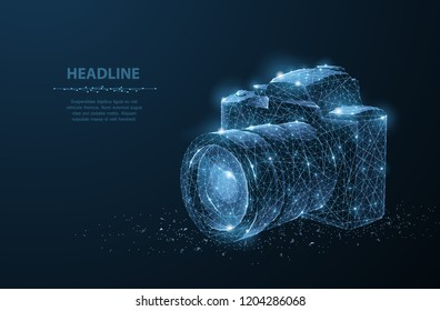 Camera. Abstract 3d polygonal wireframe modern professional camera isolated on blue. Photo art, video equipment, digital photographing concept vector illustration or background