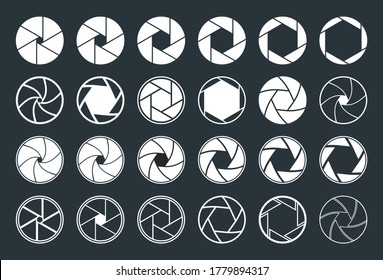 Camera with aperture, lens. Icons of shutter. Focus, diaphragm for photo, video equipment. Logo for snap of photography. Studio optics for film, photoshoot. Graphic symbols on black background. Vector