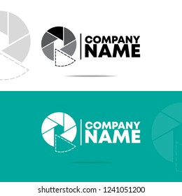camera aperture  logo design  with dot line, blacbk/white color, isolated and using for business or company or studio