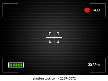"Camera background, camera viewfinder background with battery indicator, ""rec"" label, crosshair, scanlines, and time indicator"