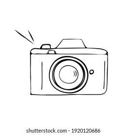 Camera for better photos. Doodle vector illustration, simple cartoon line art. Isolated, mockup template.