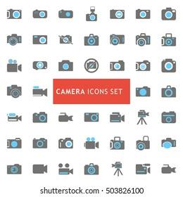 Camera Black and Gray Icon set