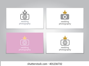 Camera conceptual logo with heart for wedding photographer. Vector illustration
