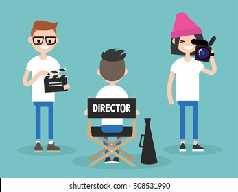 Camera crew: director, cameraman and assistant working on the set / editable flat vector cartoon illustration