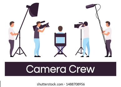 Camera crew flat vector illustrations set. Director sitting in chair, cameraman isolated cartoon characters. Filmmaking studio members with professional equipment. Sound operator, lightning technician