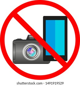 The camera is depicted, a mobile phone against a red circle, vector illustration for sites, shops, public places. Photography and the use of technical equipment is prohibited. Prohibition sign.