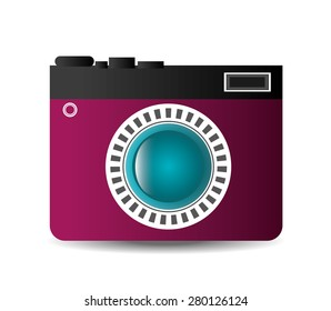 Camera design over white background, vector illustration.