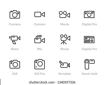 Camera Device Set Editable Line Icons Set.