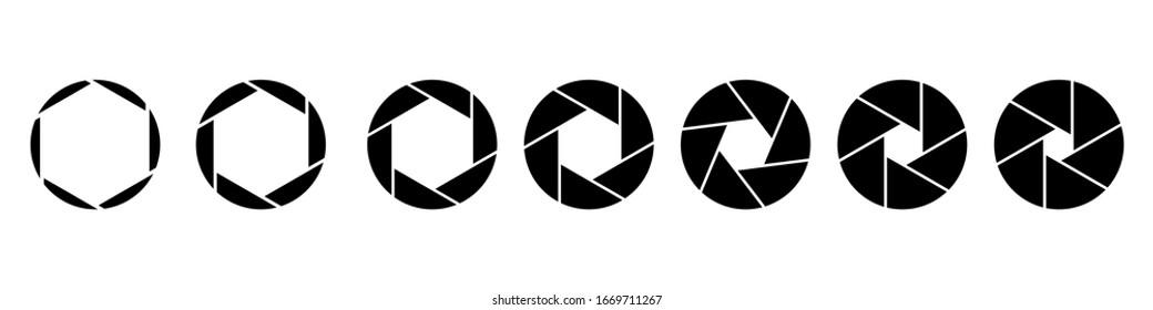 Camera diaphragm values. Different lens aperture values