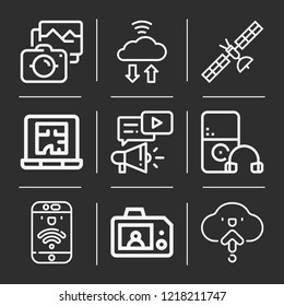 Camera, digital marketing, cloud computing, upload, smartphone, laptop, military satellites icon set suitable for info graphics, websites and print media and interfaces