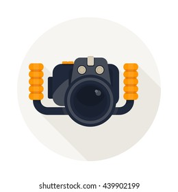 Camera for diver.  Underwater equipment. Cartoon flat vector illustration. Objects isolated on a white background.