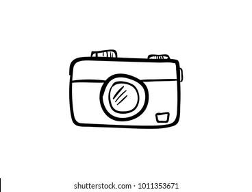 camera doodle icon vector
