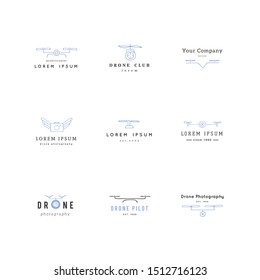 Camera drones. Aerial photography. Big set of colored hand drawn logo vector templates. For business identity and branding, for drone flight schools, photographers and drone shops.