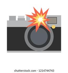 Camera emoji with flash vector