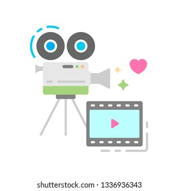Camera and film flat color icon. Record wedding video concept. Sign for web page, mobile app, banner, social media. Pictogram UI/UX and GUI user interface. Vector clipart, illustration.