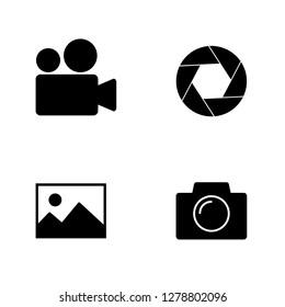 Camera, film, photography icon set. Vector art.