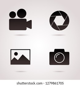Camera, film, photography icon set. Vector art.