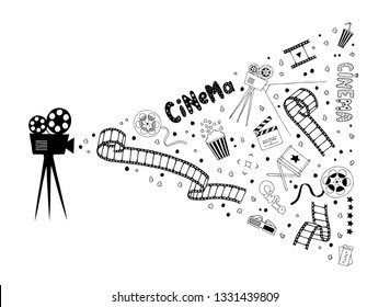 Camera with film spotlight of items: popcorn, film strip, drinks, clapper board. Movie time concept. Set of abstract isolated design elements. Hand drawn vector black and white doodle illustrations.