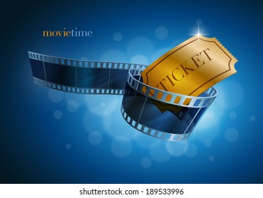 Camera film strip and gold ticket on blue defocus background. Vector illustration.