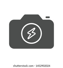 Camera flash icon isolated on white background. Lightning symbol modern simple vector icon for website or mobile app