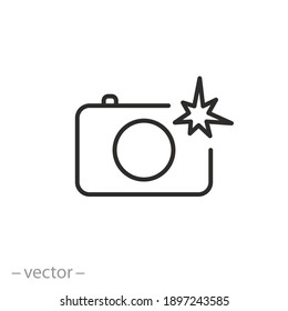 camera with flash icon, photo shot light, professional paparazzi concept, photography process, thin line symbol on white background - editable stroke vector illustration eps10