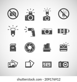 camera and flash icon set, each icon is a single object (compound path), vector eps10