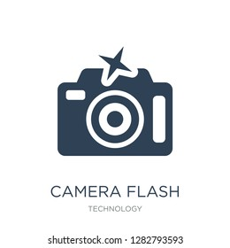 camera flash icon vector on white background, camera flash trendy filled icons from Technology collection, camera flash vector illustration