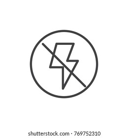 Camera flash off line icon, outline vector sign, linear style pictogram isolated on white. No photo flash light symbol, logo illustration. Editable stroke