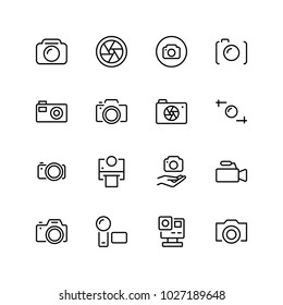 Camera flat icon set. Single high quality outline symbol of info for web design or mobile app. Thin line signs of chat for design logo, visit card, etc. Outline logo of video.