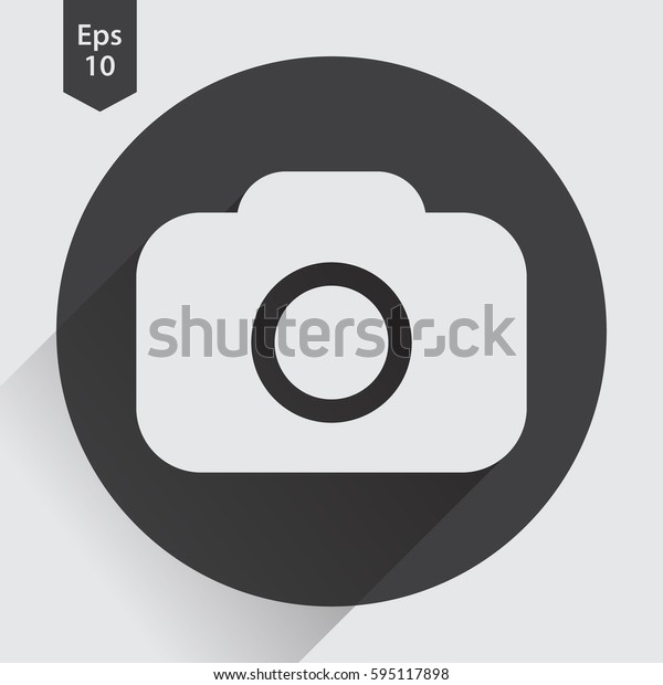 Camera Flat Icon. Simple Sign Of Technology. Vector Illustration Isolated On Colored Background