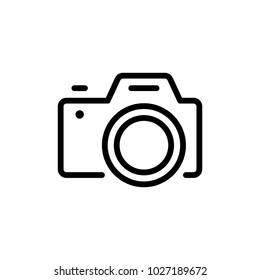 Camera flat icon. Single high quality outline symbol of info for web design or mobile app. Thin line signs of chat for design logo, visit card, etc. Outline logo of video.