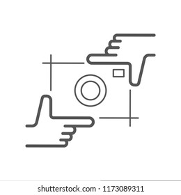 Camera flat icon. Single high quality symbol of info for web design or mobile app. Thin line signs of chat for design logo, visit card, etc. Outline logo of video.